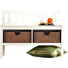 Outdoor Storage Benches - Hampton Wooden Seat Storage Bench with Rattan Baskets and Back  Great Entryway Hallway Furniture  This Basket Organizer Foyer Chest Is White and Has 2 Storage Compartments and 2 Cubby Storage Baskets Included  This Small Entry Storage Bench Can Be Used Both Indoor or Outdoor  Very Beautiful CoastalContemporary Style *** Want to know more, click on the image. (This is an Amazon affiliate link)