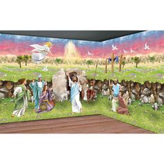Resurrection Design-A-Room Pack - OrientalTrading.com $47.50 - Great for Sunday School Room or Easter Egg Hunt inside at Church.   Loved the Christmas Nativity so I'm excited about finding the Resurrection scene.