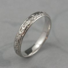 Solid 14K White Gold Going Barouque Wedding Band14K by debblazer