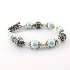 Aqua Pearl Bracelet Glass Pearl White Antique by CinLynnBoutique, $24.00