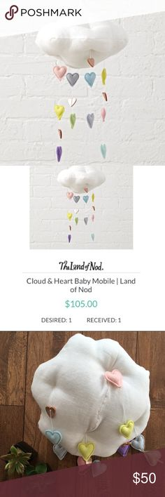 Land of Nod Cloud & Hearts Baby Mobile This baby mobile was on my registry just this past November. It was $105 from Land of Nod and I HAD to have it!! We ended up moving to a place with no nursery so we never had a place to hang it. It didn't arrive in a box but it's new, no stains or tears or missing hearts. Super adorable!   Baby decorations - baby accessories - nursery decor - baby's room - love - hearts - baby girl - newborn girl Land of Nod Other