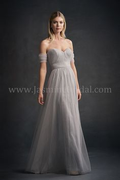Jasmine Bridal | Belsoie Style L194052 in Silver | Soft Tulle | Sweetheart Neckline | Off-the-Shoulder | Romantic Look