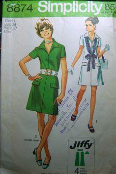 70's Zipper Mini Dress Simplicity 8874 Bust 36 Waist 27 Uncut Complete