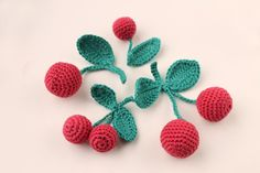 Crochet cherries, Crochet fruits, play food, soft toys , Handmade toys, eco…