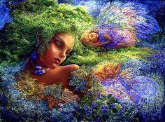 """Moss Fanciulla. La bella Driade giace a pelo tra le violette con i capelli che fluiscono fuori per fare un tappeto di muschio. Lei è affiancata nel suo sonno da due dei suoi amici fata che si annidano indisturbati fra le trecce dopo una notte di magia. """"Opera di:Josephine Wall"""""""