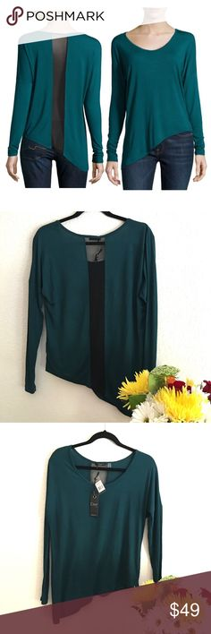 ❌Sale❌Rare Asymmetric top/Sheer Strip in Back❌ ❌❌Bought it from Neiman Marcus, SOLD OUT EVERYWHERE❌❌In Excellent new with tags attached condition❌Teal Asymmetric Mesh-inset Draped T . It is comfortable, luxurious, and very figure flattering in lovely Alpine Green color. ❌Size S/P❌ - modal jersey top with scoop neckline, long sleeves, asymmetric hem & pullover style. Modal/spandex; hand wash.❌❌PRICE IS Pretty FIRM ❌❌ Dex Tops