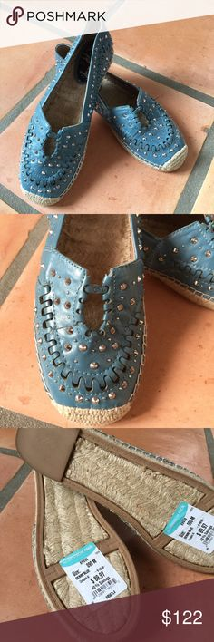 Sam Edelman Denim Blue Espadrilles NWT Sam Edelman Denim Blue Espadrilles NWT Purchased at Nordstrom Rack. Really cool shoes, pretty blue with metal studs and jute inside. Price is firm. I will return if not sold on Posh. 😍 Sam Edelman Shoes Espadrilles
