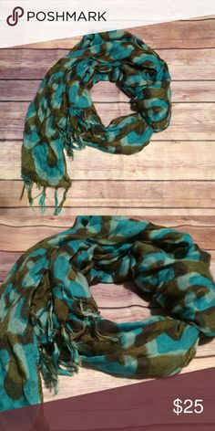 CLOSEOUT SALE Turquoise blue and green scarf Turquoise blue and green scarf with fringe ends! Accessories Scarves & Wraps