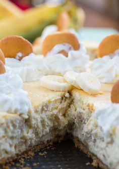 Banana Pudding Cheesecake With A Vanilla Wafer Crust - Spicy Southern Kitchen _ This creamy dessert flavored with fresh banana is a combination of two of my favorite desserts- cheesecake & banana pudding. Original from Southern Living.