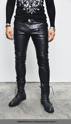 Bottoms :: Pants :: Rock-chic Zippered Slim Leather Biker-Pants 88 - Mens Fashion Clothing For An Attractive Guy Look