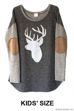 french terry top with suede elbow patches and front deer print made in usa