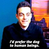 Rami Malek, everyone.  Honestly, I'm the same .  I love my dog! People, eh.