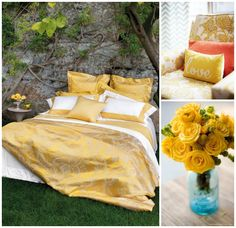 Master Bedroom Ideas- Sunny yellow and clementine
