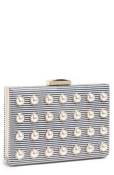 Pearls, stripes and bows...oh my! Clutch by Kate Spade