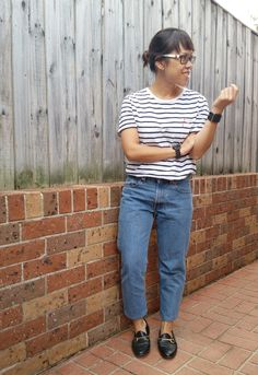 An outfit with a pair of vintage denim Levi's 550s, and wondering why jeans aren't made like they used to be.