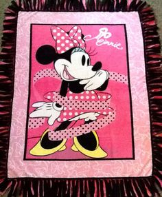 Minnie Mouse pink fleece tie blanket with matching drawstring backpack, reversible blanket. Shop here:  https://www.etsy.com/listing/249199361/minnie-mouse-pink-fleece-tie-blanket?ref=shop_home_active_4 #minnimouse #simpleesweetboutique