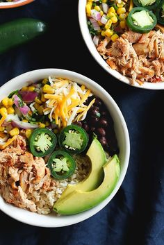 Better than Chipotle DIY Chicken Burrito Bowls that are awesome for clean eating and healthy meal prep. Cheap