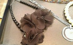Vintage necklaces lot of 6, beaded, fabric black floral, pregnant, rainbow tone.
