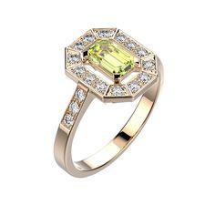 Agrandir Bague Gatsby - Or rose 18 cts, Péridot et Diamants 1