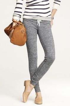 Weekend wear -- grey sweatpants, navy and white striped shirt, beige loafers (I'd prefer oxford shoes)