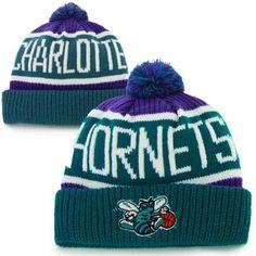 47 Brand Charlotte Hornets Hardwood Classics Calgary Knit Hat - Teal Purple 2fa815d87f8