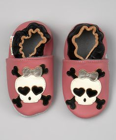 Another great find on #zulily! MOMO Baby Pink & Black Skull Leather Booties by MOMO Baby #zulilyfinds