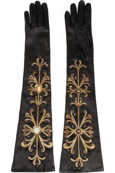 Dolce & Gabbana | Embellished leather gloves | NET-A-PORTER.COM