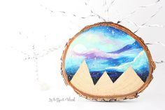 Wood Slice Art Small 3.5  Mountain Scene Wood by bytherockandweed