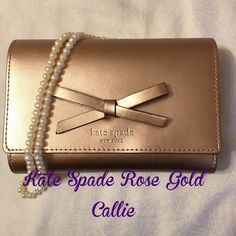 SALE! TODAY ONLY Kate Spade Rose Gold Callie Kate Spade Callie in rose gold. Still in box. NWT. It is more of a wallet than a clutch. Does not fit an iPhone 6! No trades. MAKE AN OFFER!  kate spade Bags Wallets