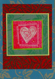 "Joan Lewis  ""stitched heart"" greeting card 1995"