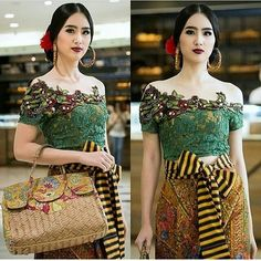 plant Kebaya Lace, Batik Kebaya, Kebaya Dress, Batik Dress, Kebaya Simple, Tulle Dress, Lace Dress, Dress Batik Kombinasi, Kebaya Wedding
