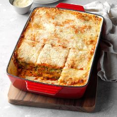 No one will even miss the meat when you serve this vegetable-rich lasagna. It has a fresh, full-bodied flavor. To save time, prepare the carrot and spinach layers in advance. Vegetarian Casserole, Casserole Recipes, Vegetarian Recipes, Veggie Recipes, Veggie Casserole, Lasagna Recipes, Vegetarian Dinners, Potluck Recipes, Vegan Dinners