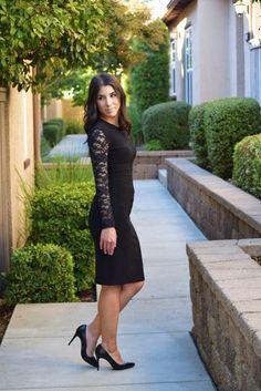 Emily Bogner wearing black dress