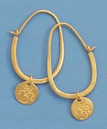 14K Gold Plated Sterling Silver Hoop Earrings, Hindu Om/Aum Symbol Tag, 1-3/4 inch Silver Messages. $34.99