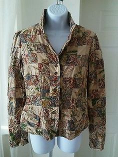 Polo Jeans Company Women's Patchwork Button Down Shirt Jacket Med Multi-Color