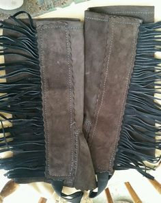 Brown Suede Half Chaps Leather Fringe Biker Horse Equestrian MADE in USA #UncleJoesForge