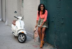 I want this white vespa. I love the tan leather seat :D