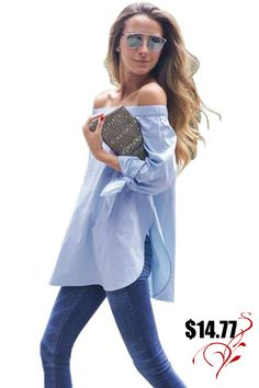 Figure-friendly off shoulder long sleeve bow top. Time for street style fashion statement. International Free shipping.