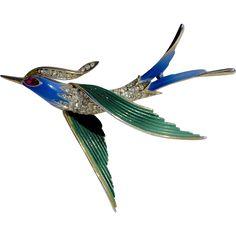 #Vintage #Trifari cure for the #MondayBlues online at www.rubylane.com @rubylanecom -- A Vintage Signed Trifari Enamelled Flying Swallow Bird Brooch Pin