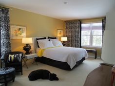 yellow black bedroom