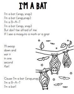 Joyful Learning In KC: Shared Reading~ Halloween poems. I'm a Bat poem. Great for October, Halloween, bat studies and learning about nocturnal animals. Kindergarten Songs, Preschool Music, Fall Preschool, Preschool Activities, Therapy Activities, Preschool Halloween, Kindergarten Classroom, October Poem, November