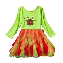 Baby Girl Boutique Dress Brand Girl Children Clothing Christmas Costume Cartoon Reindeer Autumn Kids Clothes Festival Party Wear(China (Mainland))