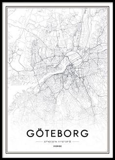 Affisch, tavla med karta över Göteborg. Snygg svartvit poster med Göteborgs stadskärna. Från 129kr