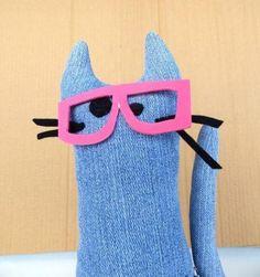 Nerd cat plushie toy stuffed animal  handmade of recycled jeans - soooooo cool!!