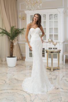 2f1927bc98 Nádherné dlhé čipkované svadobné šaty bez ramienok Dress Up
