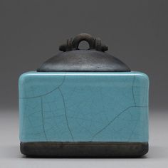 Raku Ceramic Box, handmade, turquoise,trinket box, treasure box, home decor,pottery