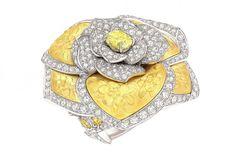 La camelia, esa flor de origen asiático, presente en el imaginario Chanel desde 1923, ha servido pues de inspiración para el diseño de una amplia colección de joyas que se declinan en un hermoso y colorido jardín por medio de diamantes, zafiros multicolores, turmalinas, espinelas, ónices, ópalos y perlas a través de sortijas, collares, pendientes, brazaletes y broches desarrollando la tridimensionalidad y la movilidad gracias a sus sofisticados engarces.