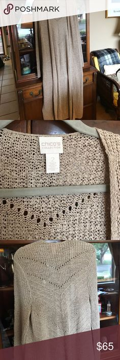 """Lovely long sweater Perfect for end of summer and fall. Long - 48"""" - sweater. Nice drape, loose fit, side slits. Chico's Sweaters"""