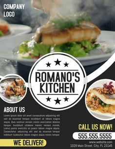 Restaurant Advertising, Restaurant Flyer, Display Advertising, Restaurant Design, Share Online, Ad Design, Print Ads, Flyer Template, Business Flyers