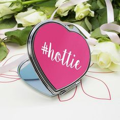 Valentines Gift For Her - Personalised Hashtag Heart Compact Mirror - Lovely Gift Idea for Girlfriend, Wife, Fiancee etc
